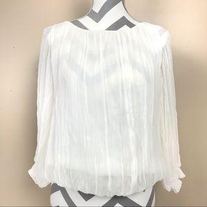 Alice + Olivia White silk peasant blouse